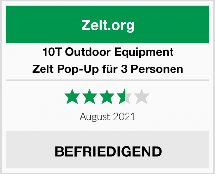 10T Outdoor Equipment Zelt Pop-Up für 3 Personen Test