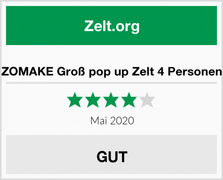 ZOMAKE Groß pop up Zelt 4 Personen Test