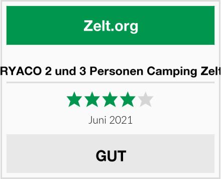 RYACO 2 und 3 Personen Camping Zelt Test